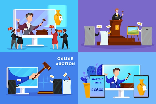 Online auction concept. taking action in auction through device