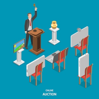 Online auction isometric flat vector concept.