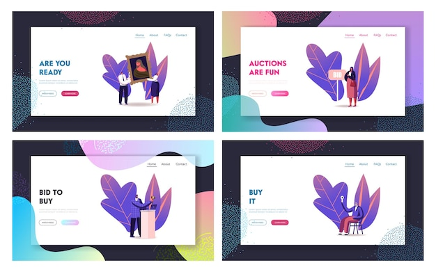 Online auction landing page template. auctioneer, people collectors buying assets in internet.