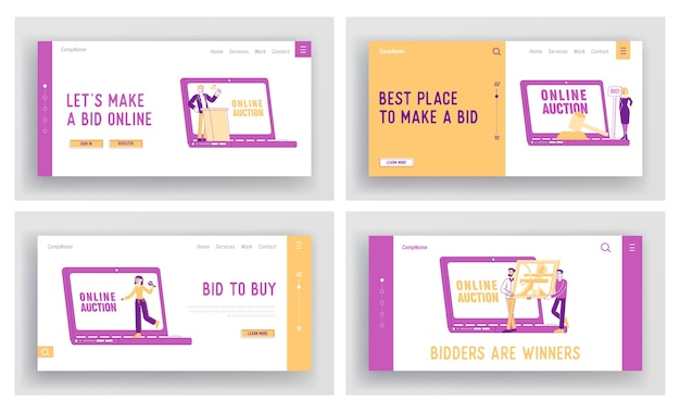 Online auction landing page template set