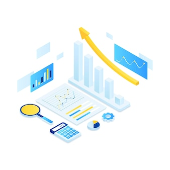 Online audit illustration isometric concept.