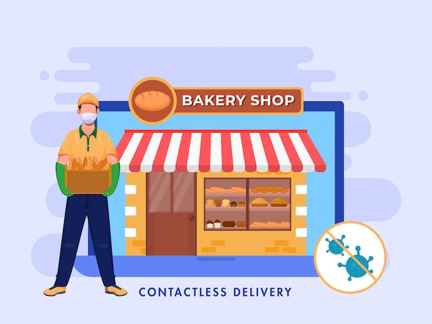 Online bakery shop in laptop and contactless delivery boy holding box of baguette bread.
