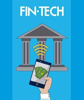 スマートフォンアプリのベクトル図イラストグラフィックデザインのオンライン銀行