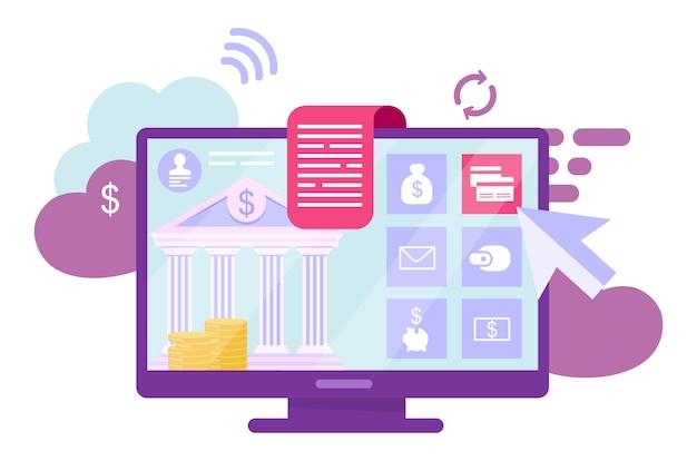 オンラインバンキングアカウントの図。デジタル財布、ewalletサービス漫画のコンセプト。財務管理。銀行取引、白のインターネット請求システムの比喩