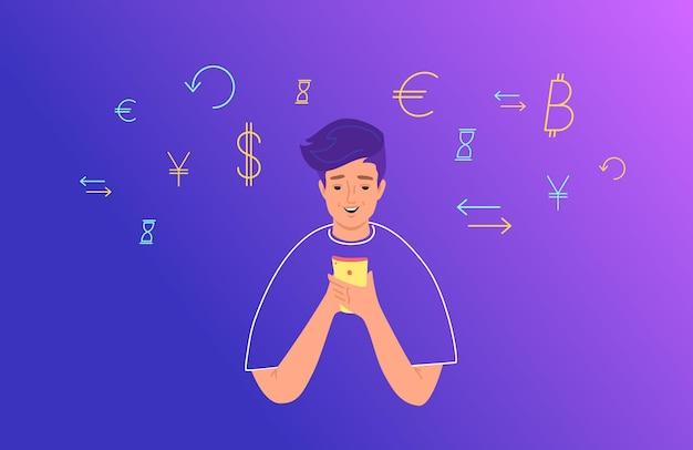オンラインバンキングと電子財布の概念フラットベクトルイラスト。財務会計にモバイルスマートフォンを使用している10代の少年。ドル、ユーロ、彼女の周りの交換のシンボルを持つ若い男