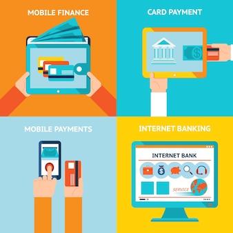 オンラインバンキングとモバイルバンキング。インターネットビジネス、テクノロジーと金融、銀行と支払い。