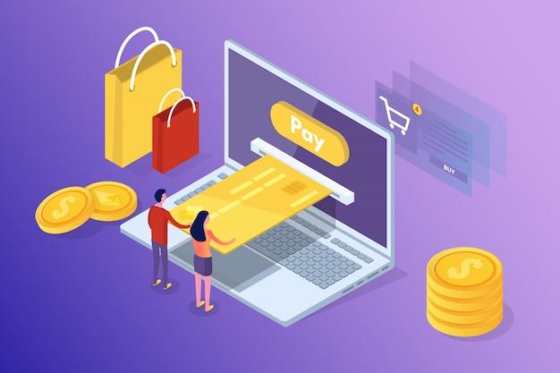 オンラインバンキングやショッピング、モバイル決済、送金等尺性概念。図。
