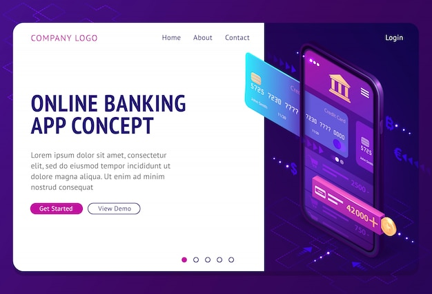 Online banking app isometric landing page, banner