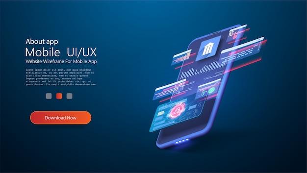オンラインバンキングアプリのランディングページ。クレジット付きスマートウォレット、デビットカード決済アプリケーション。未来のガジェット、スマートフォンのテクノロジー決済。フラット等尺性電子決済画面