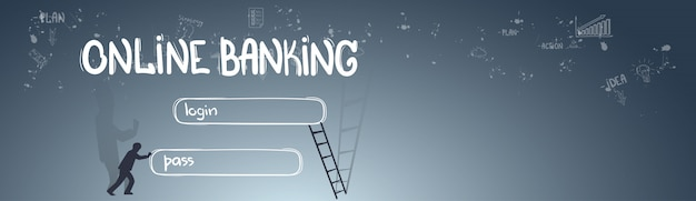 Online banking application interface concept doodle hand draw sketch background