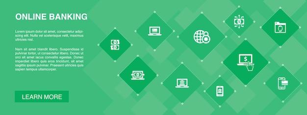 Баннер онлайн-банкинга концепция 10 иконок. перевод денежных средств, мобильный банкинг, онлайн-транзакции, простые значки цифровых денег