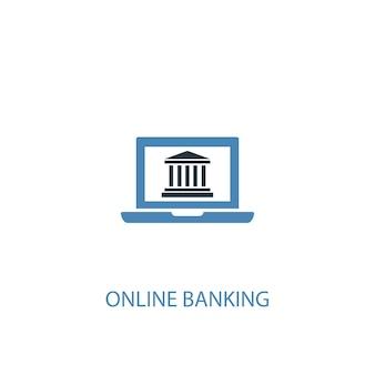 온라인 뱅킹 개념 2 컬러 아이콘입니다. 간단한 파란색 요소 그림입니다. 온라인 뱅킹 개념 기호 디자인입니다. 웹 및 모바일 ui/ux에 사용 가능