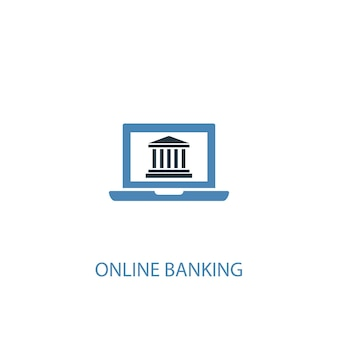 Online banking concept 2 colored icon. simple blue element illustration. online banking concept symbol design. can be used for web and mobile ui/ux