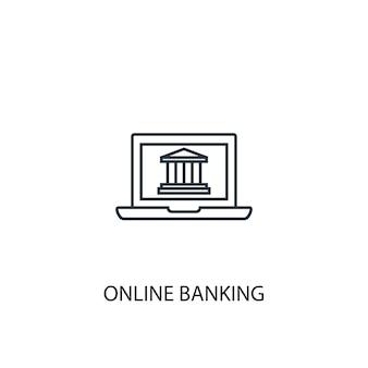 온라인 뱅킹 개념 라인 아이콘입니다. 간단한 요소 그림입니다. 온라인 뱅킹 개념 개요 기호 디자인입니다. 웹 및 모바일 ui/ux에 사용 가능