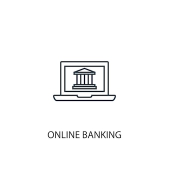 Online banking concept line icon. simple element illustration. online banking concept outline symbol design. can be used for web and mobile ui/ux