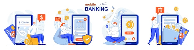 Online banking concept set app for financial transactions payment savings
