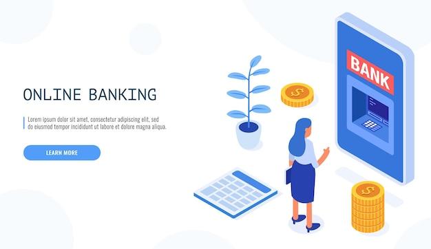 Концепция онлайн-банкинга. женщина смотрит на мобильный банкинг по телефону.
