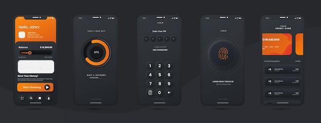 다크 모드 템플릿이있는 앱 모바일 용 온라인 뱅킹 디자인 키트