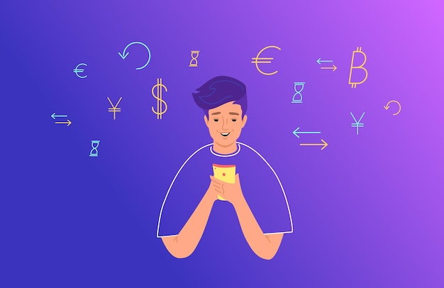 Online banking and electonic wallets concept flat vector illustration. teenage boy using mobile smartphone for financial accounting. young man with symbols of dollar, euro and exchange around her