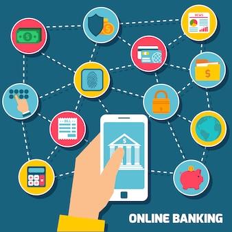Online banking elements composition concept