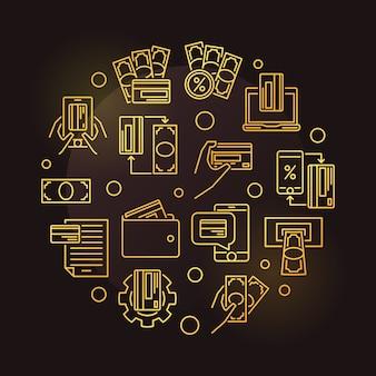Online banking epayments round golden line icon illustration