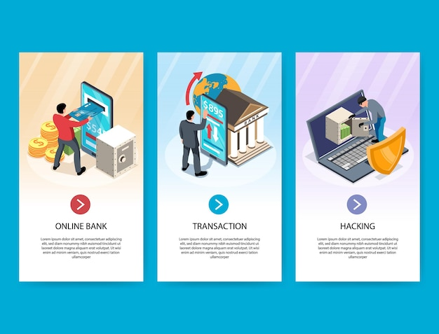 Online banking et of three isometric vertical banners