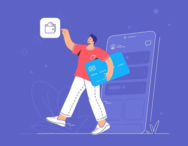 온라인 뱅킹, 전자 지갑 및 신용 카드. 웃는 남자가 파란색 신용 카드로 스마트폰에서 나가 회계 및 투자를 위한 지갑 모바일 앱으로 이동하는 평면 벡터 그림