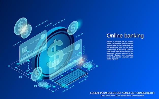 Online banking flat 3d isometric vector concept illustration