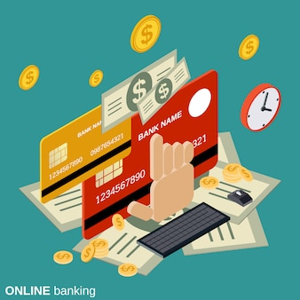 Online banking flat isometric vector concept illustration