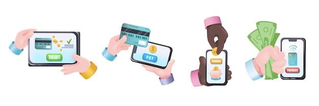 Набор руки графической концепции онлайн-банкинга. человеческие руки держат планшет со счетом, кредитную карту для оплаты, онлайн-приложение с кэшбэком. векторная иллюстрация с 3d реалистичными объектами