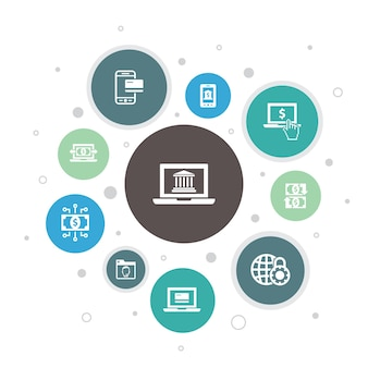 온라인 뱅킹 인포그래픽 10단계 버블 design.funds 전송, 모바일 뱅킹, 온라인 거래, 디지털 돈 간단한 아이콘