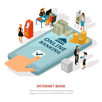 Online banking isometric banner
