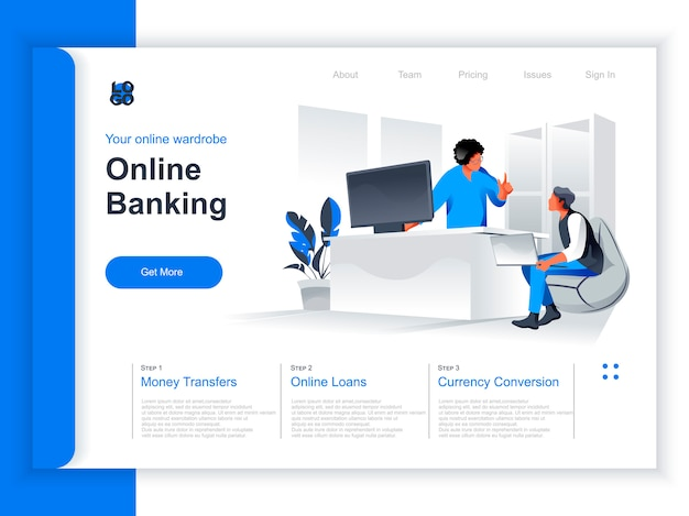 Online banking isometric landing page. business people use computers, manager advising client in bank office situation. online deposit account, payment and money transaction perspective flat design.