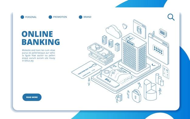 Изометрический шаблон целевой страницы онлайн-банкинга