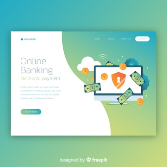 Online banking landing page template