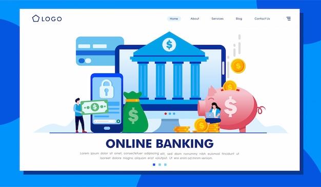 Online banking landing page website illustration template