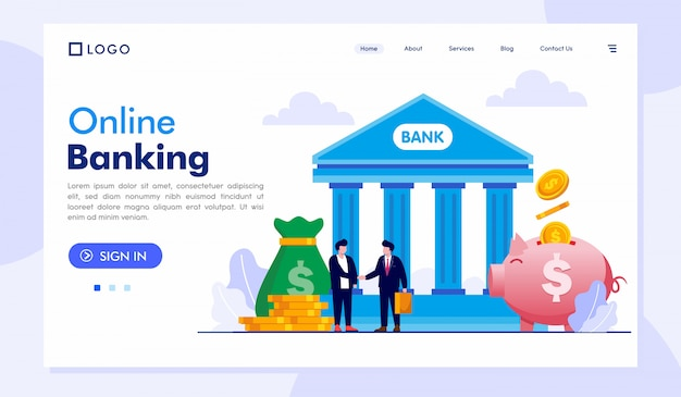 Online banking landing page website illustration vector template
