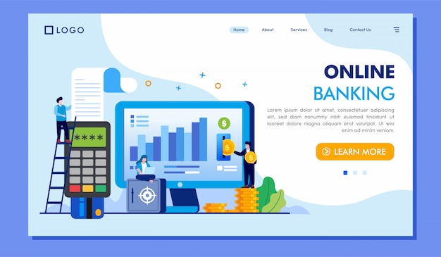 Online banking landing page website illustration