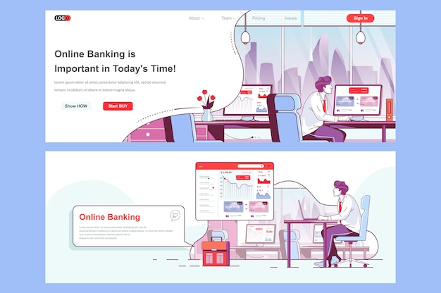 Online banking landing pages template use as header