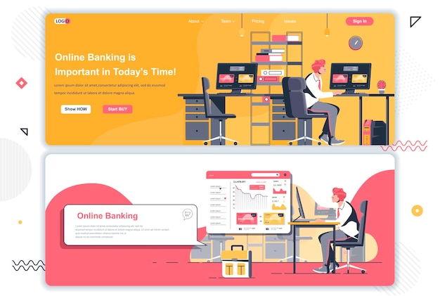 Online banking landing pages