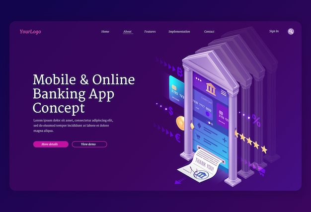 Online banking mobile app isometric landing page