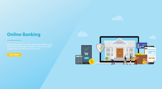 Online banking mobile payment technology concept with team people for website template or landing homepage