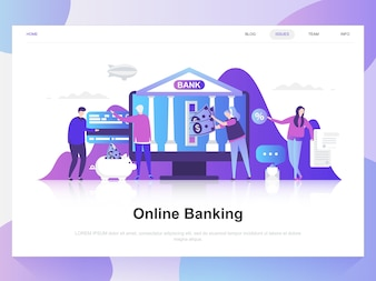 Online banking modern flat design concept.