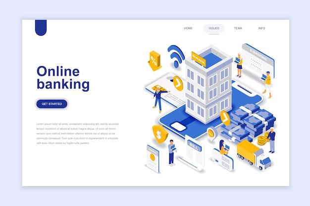 Online banking modern flat design isometric concept.