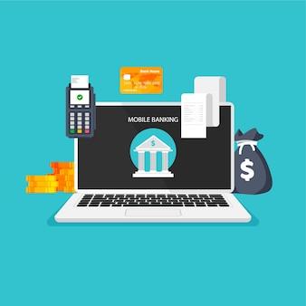 온라인 뱅킹 돈 거래 사업 및 모바일 결제 은행 아이콘이 있는 컴퓨터 모니터