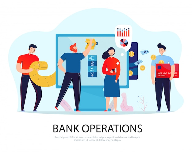 Online banking operations flat composition with people paying bills and managing their finance