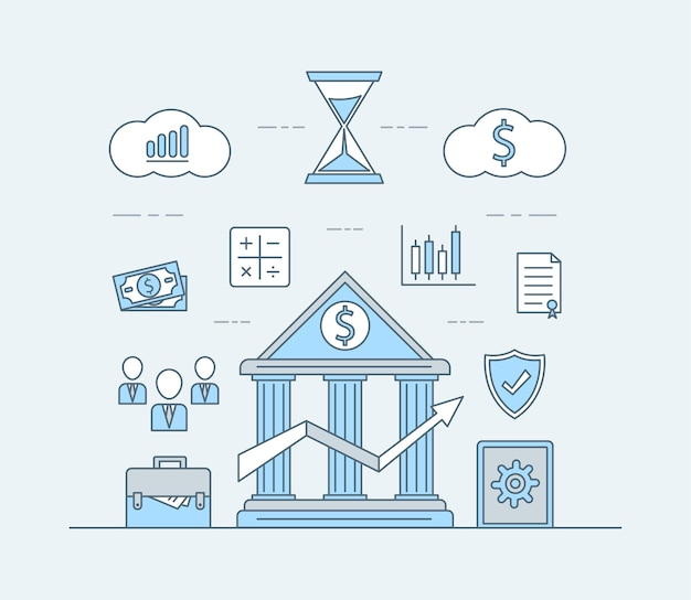 Иллюстрация приложения для онлайн-банкинга или инвестирования