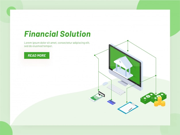 Online banking service or monetary support isometric design.