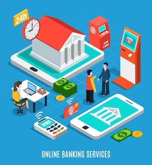 Online banking services isometric composition