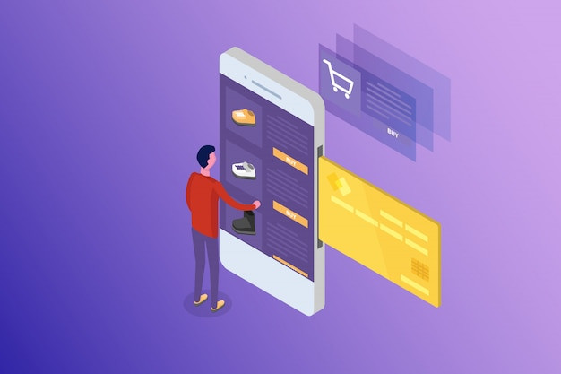 Online banking and shoping, mobile payments,  transfer money isometric concept.  illustration.